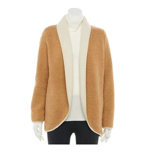 NEW Sonoma XL or XXL Sherpa Cardigan Open Front Jacket Faux Fur Brown Teddy Bear